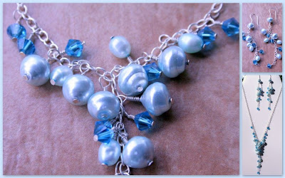 Blue waterfall (Swarovski crystals, freshwater pearls, sterling silver) :: All Pretty Things
