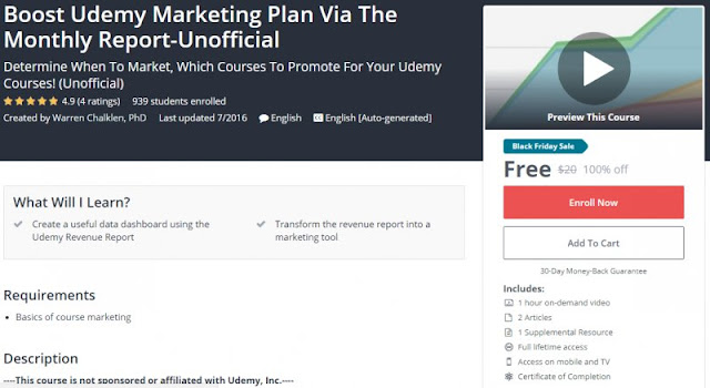 [100% Off] Boost Udemy Marketing Plan Via The Monthly Report-Unofficial| Worth 20$