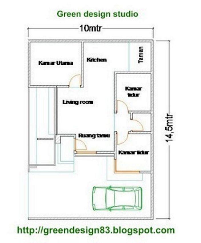 denah rumah 6x10m2 3 kamar terlihat menarik