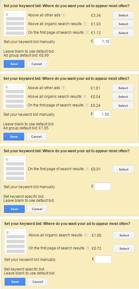 new adwords bid suggestion