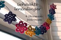Gehaakte lenteslinger - 4 bloemen patronen