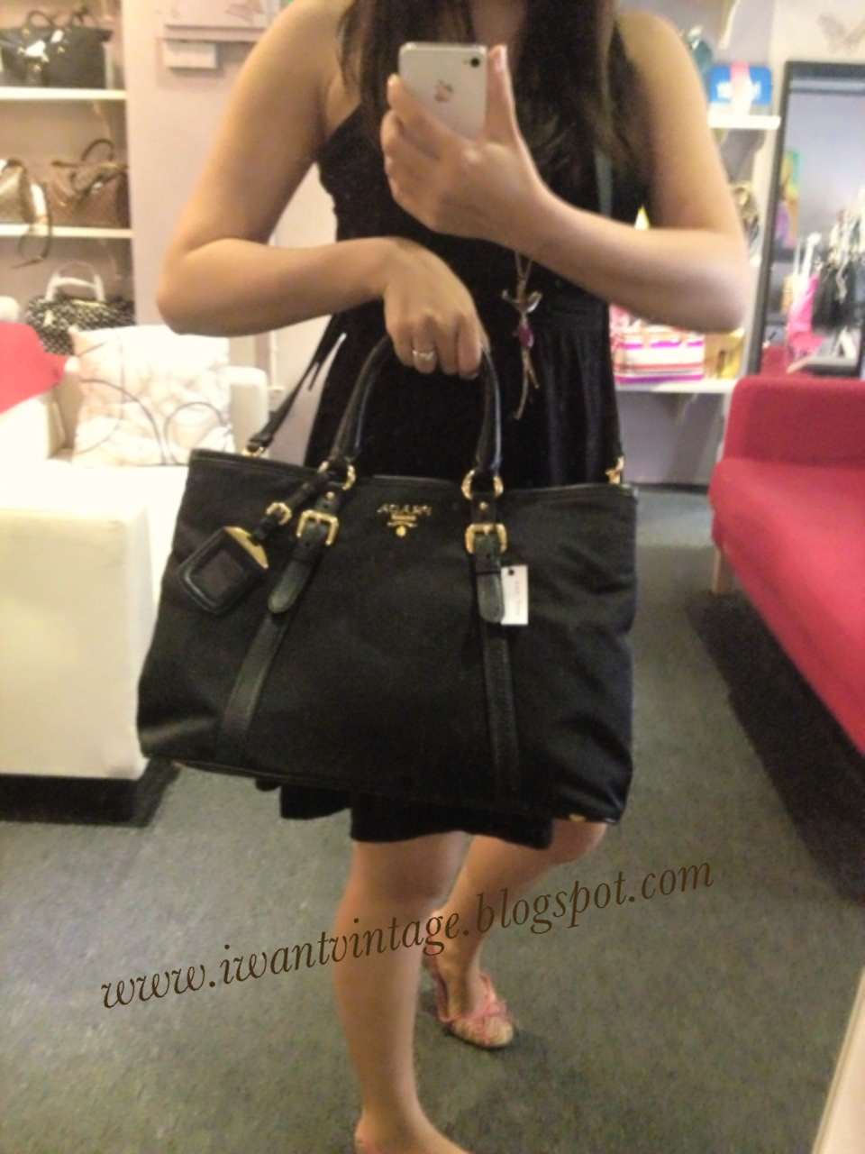 bc0964d1314fea I Want Bags backup: Prada Tessuto Nylon Tote BN2527 - Black