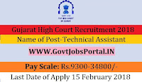 Gujarat High Court Recruitment 2018 –Technical Assistant