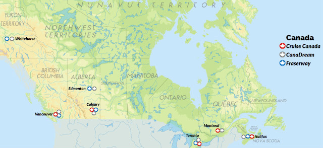 CanaDream, Fraserway, Cruise Canada udlejningsstationer i Canada