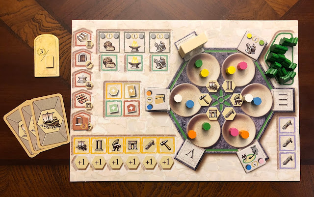 Player board setup for Trajan, board game review, Renegade Game Studios, Photo by Benjamin Kocher