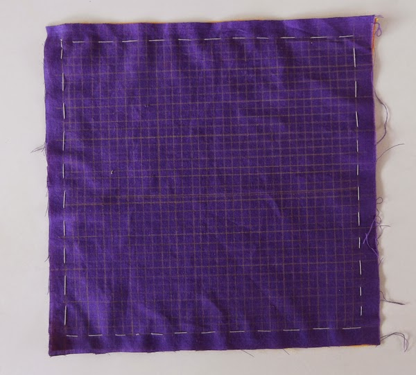 grid on fabric, mola step by step