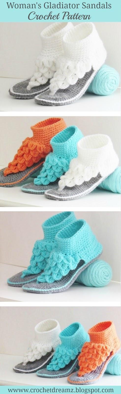 Crocodile Stitch Gladiator Sandals Crochet Pattern for Woman