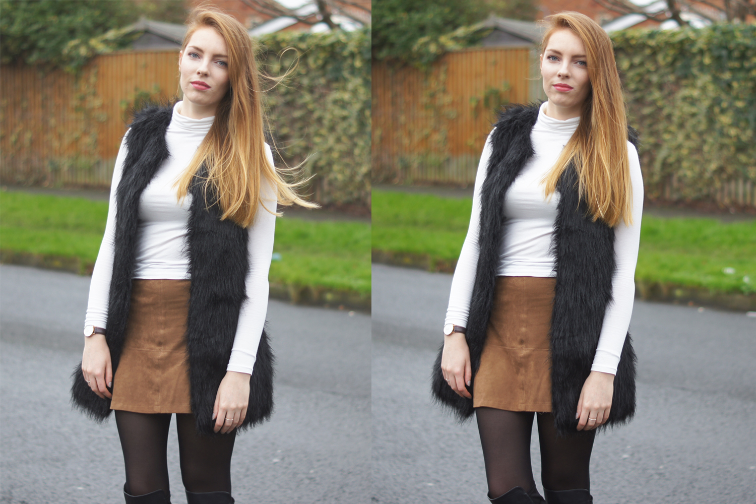 white roll neck jumper and black faux fur