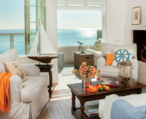 Coastal Nautical Living Room Interior Inspiration
