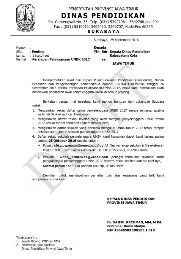 Draft Surat Edaran Persiapan Pelaksanaan Unbk 2017 Mardiyas Com