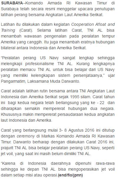 Walau Kalah Dalam Teknologi Alutsista, Namun TNI AL Tetap Bangga Berlatih dengan AS - Commando