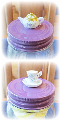 image jar upcycled painted lid teacup ornament storage tea pot teapot