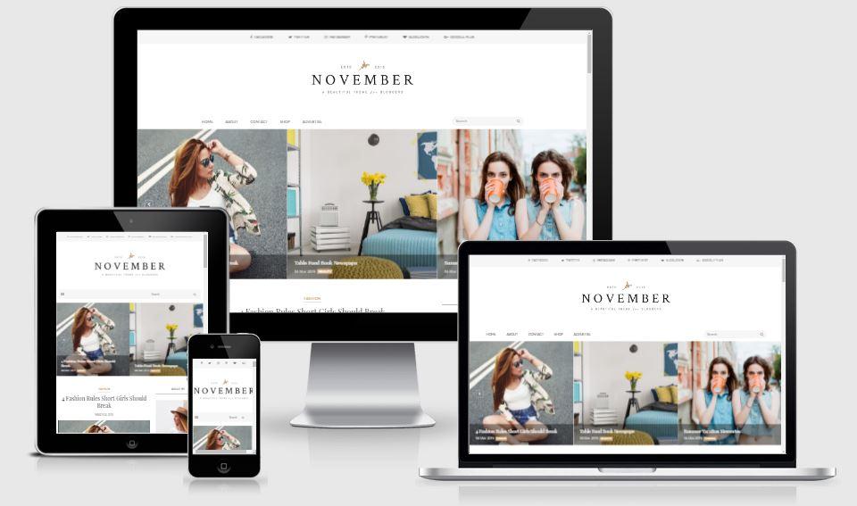 November - Minimal & Responsive Blogger Template - Mẫu giao diện đẹp 2017