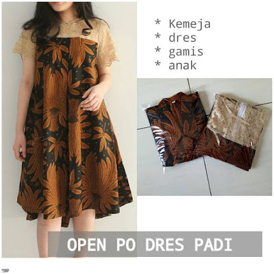 Dress Batik Sogan Padi Jokowi