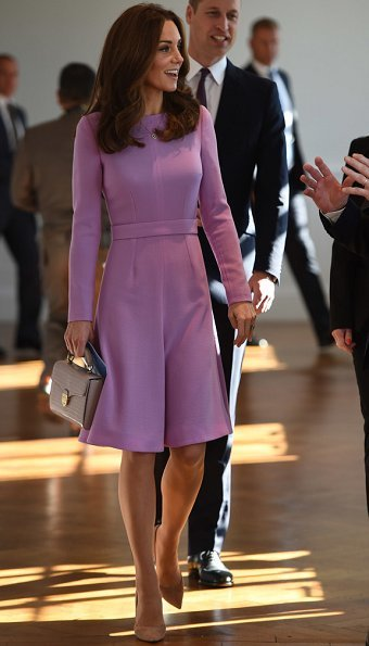 Kate Middleton wore Emilia Wickstead Kate A-line wool crepe dress, Mappin&Webb earrings, she carried Aspinal Of London Mayfair bag