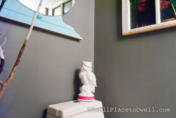 Basement Bathroom with Spray Painted Ceramic Owl