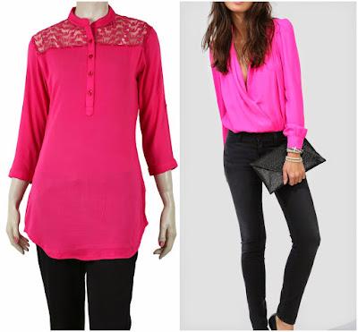 Hot pink colour, pink colour kurti