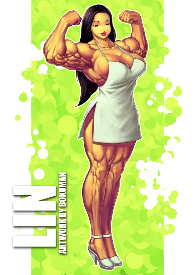 Cartoon girl will have muscle video