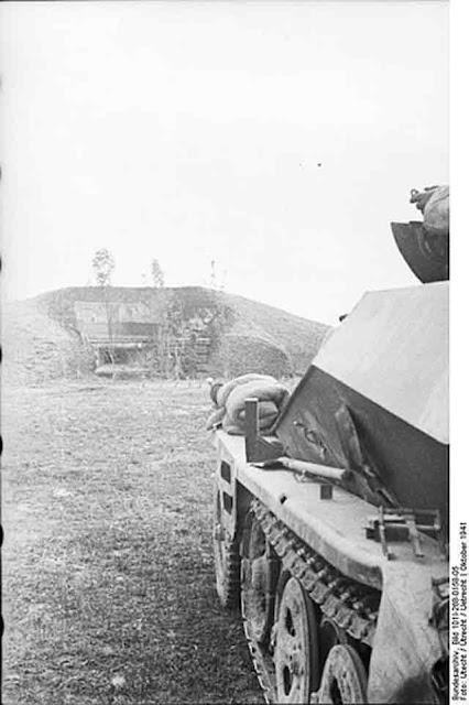 German armored observation vehicle at a Soviet bunker, 19 October 1941 worldwartwo.filminspector.com