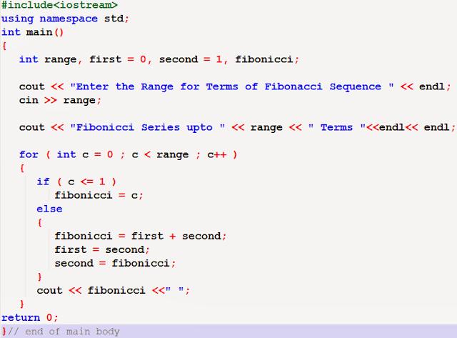 Fibonacci series using recursive function in C