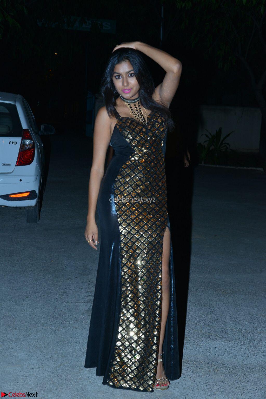 Sai Akshatha the black beauty in Black Deep Neck Lge Split Gown Exclusive Pics