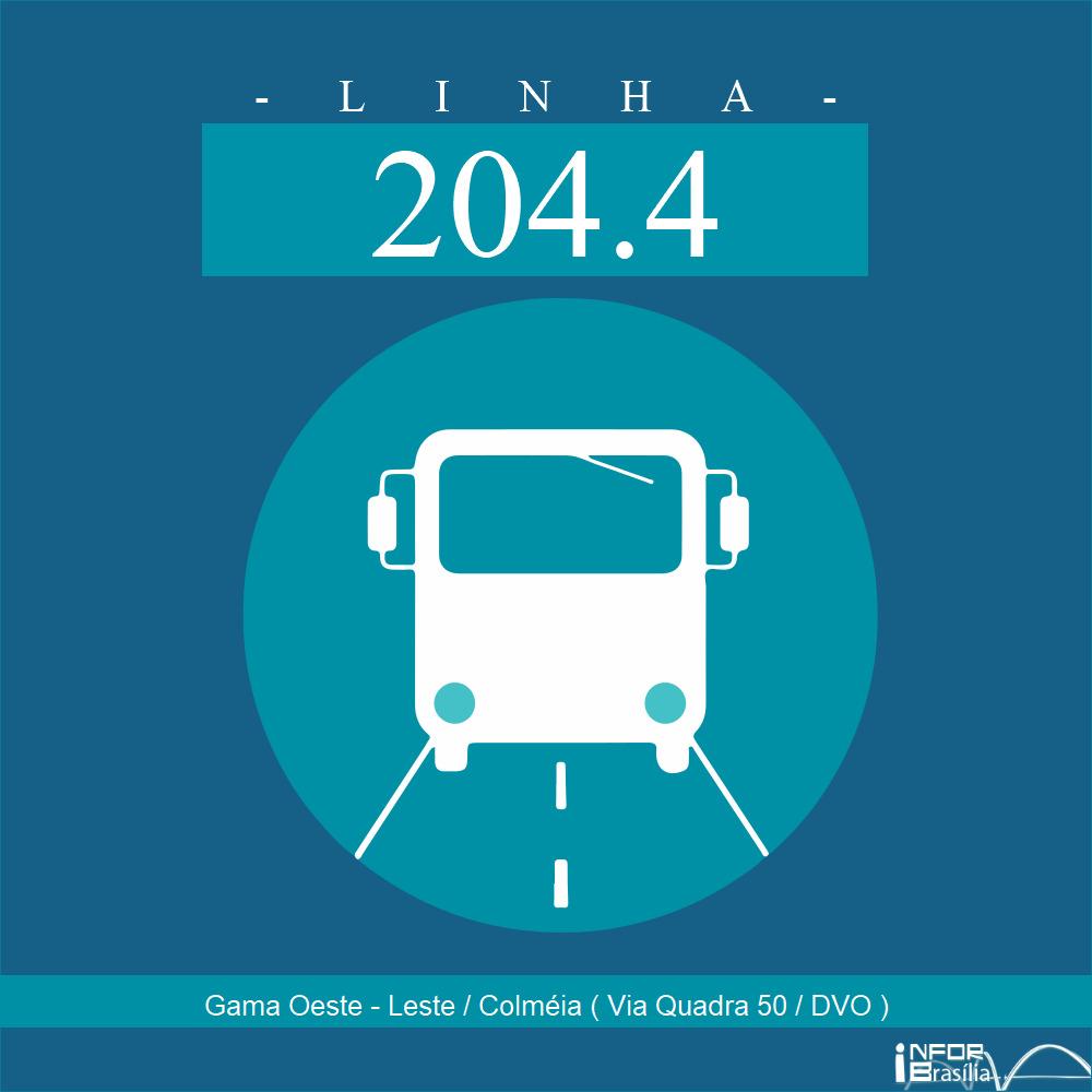 Horário de ônibus e itinerário 204.4 - Gama Oeste - Leste / Colméia ( Via Quadra 50 / DVO )