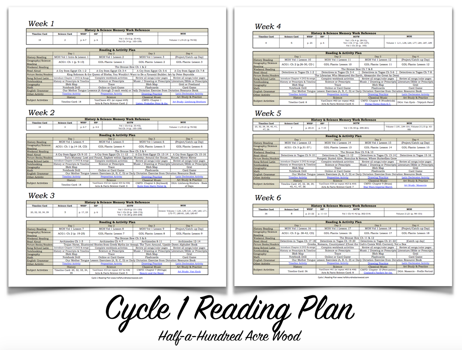 Cycle 1 Reading Plan For Lit Lovers