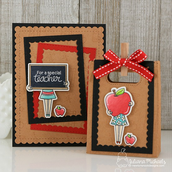 Teacher Appreciation Card and Gift Bag by Juliana Michaels | Classy Teachers Stamp Set by Newton's Nook Designs #newtonsnook #handmade