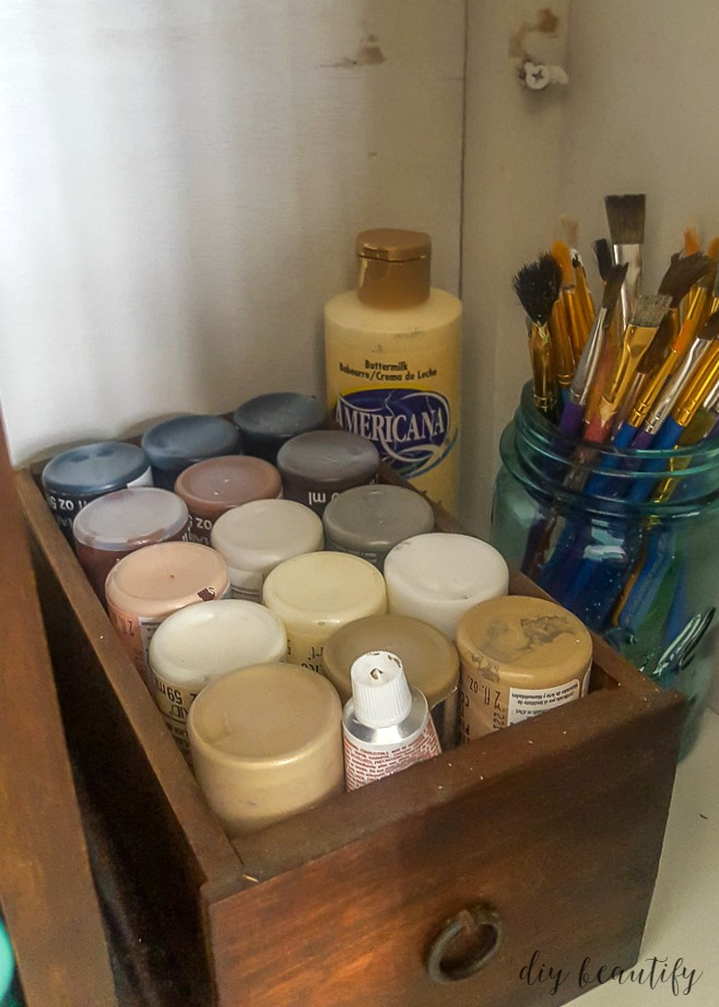 organizing craft supplies by color