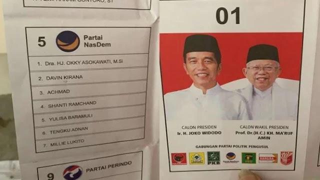 Surat Suara yang Tercoblos di Malaysia untuk Jokowi-Maruf dan Anak Dubes?