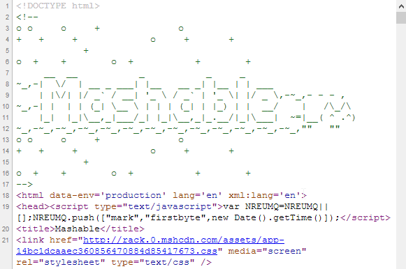 Mashable's logo in its front-end codes
