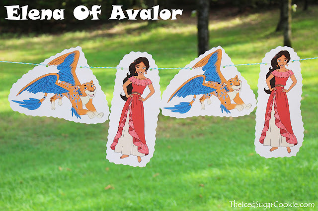 Elena Of Avalor Birthday Party Banner Idea DIY Skylar The Iced Sugar Cookie Flag Hanging Banner