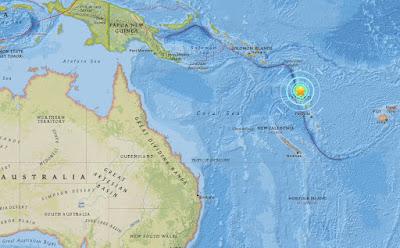 Ισχυρός σεισμός 7,2 Ρίχτερ ανοικτά του Βανουάτου