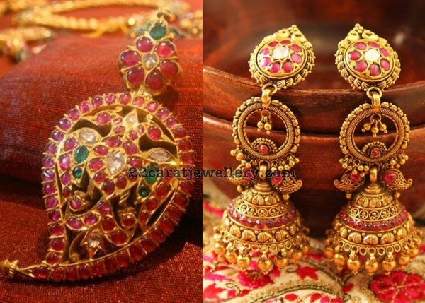 Mango Pendant and Large Jhumkas