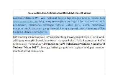 Cara Melakukan Seleksi Atau Blok di Microsoft Word