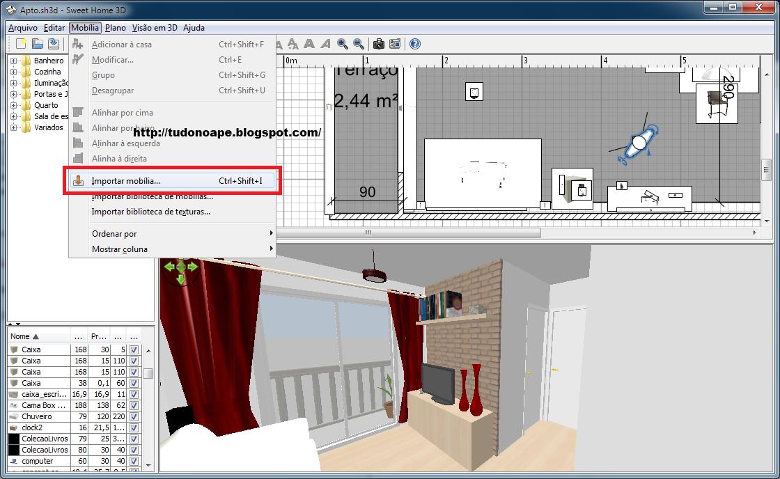 Tudo no ap tutorial sweet home 3d importando objetos for Mobilia sketchup 8