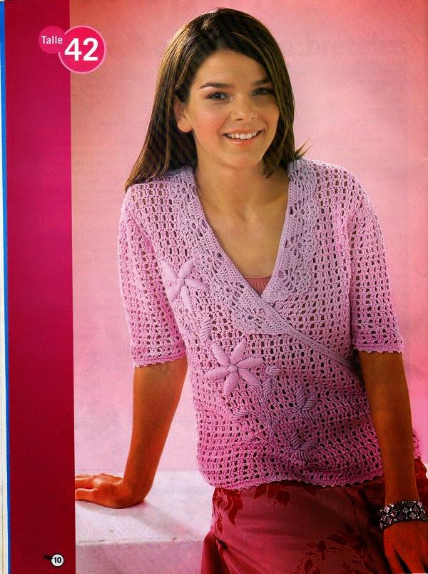 Saquito cruzado de color rosa para tejer con ganchillo