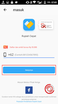 Masukan no hp kalian dengan 0 untuk login di aplikasi Rupiah Cepat, lalu klik Selanjutnya