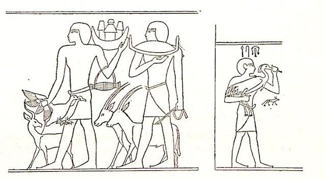 Portadores de ofrendas. (Jaques de Morgan, Recherches sur les origines de l'Égypte; l'âge de la pierre et les métaux)
