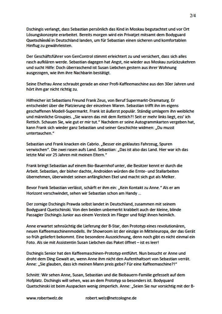 Exposé abendfüllender Spielfim Comedy komisch witzig Manuskript-Seite Autor Robert Welz Köln Pulheim