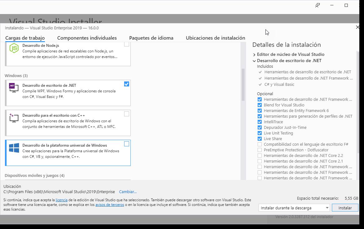 Microsoft Visual Studio 2019 RTM Multilenguaje Español