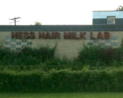 Red building sign reading HESS HAIR MILK LAB