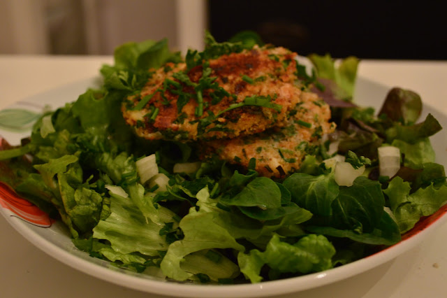 Green Spring Salad with Herbal-Breaded European Perch