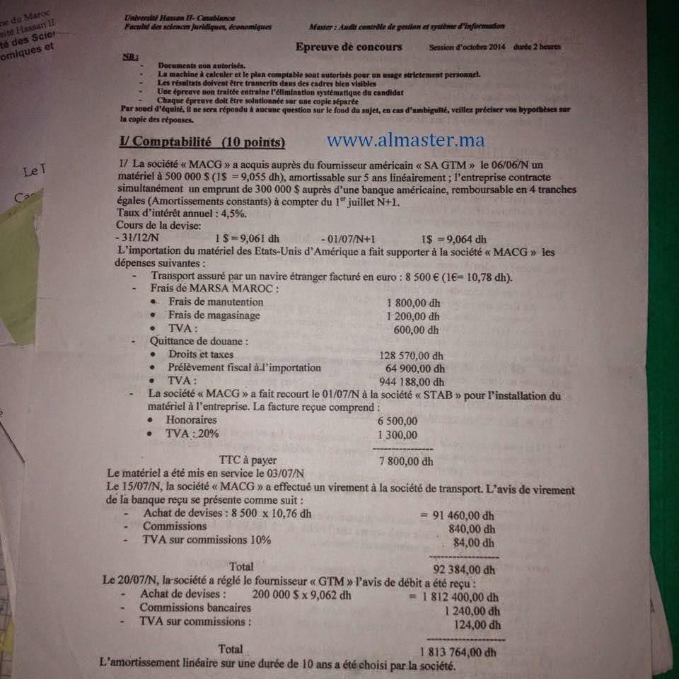 Master : audit contrôle de gestion et système d'information