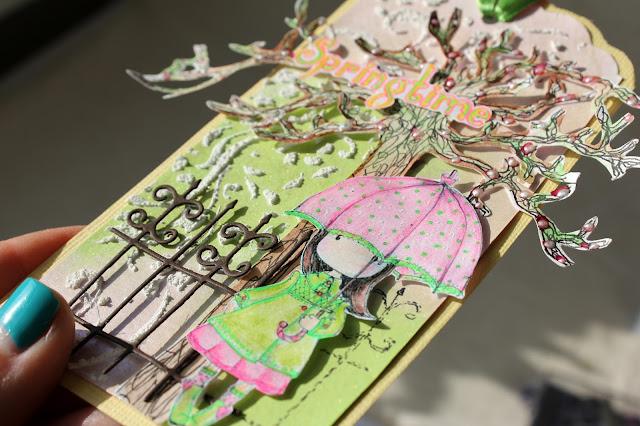 тег, открытка с отрисовкой, зонт