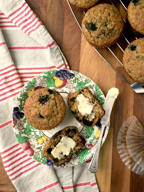 Blueberry Bran Muffins Recipe: Made with healthy ingredients like wheat germ, natural bran and stone ground flour, these blueberry bran muffins are very satisfying.