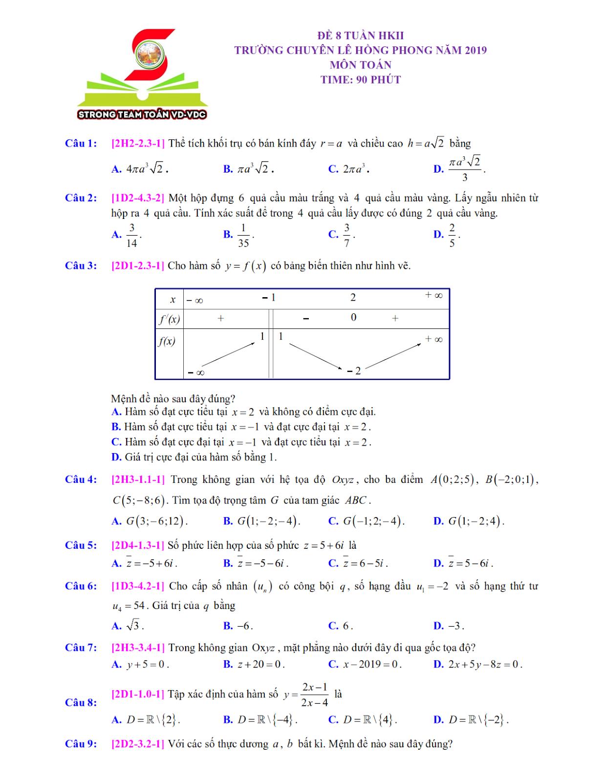 đề trắc nghiệm môn toán lần 5 nhóm STRONG TEAM TOÁN VD - VDC trang 1