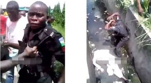 See How a Lagos Policeman on 'Illegal Duty' Pushed an Old Man Into a Gutter in Video Gone Viral (Watch)