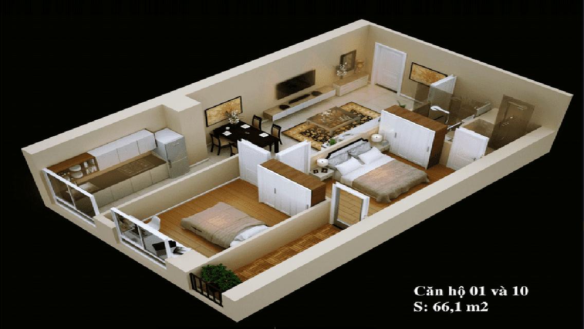 Mặt bằng căn hộ 1 -10