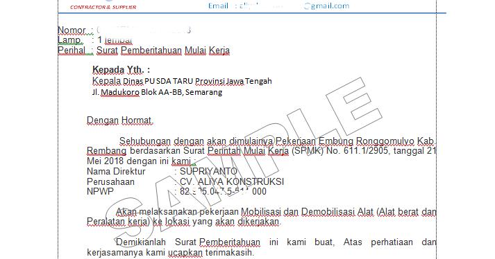 form contoh surat ijin memulai pekerjaan proyek